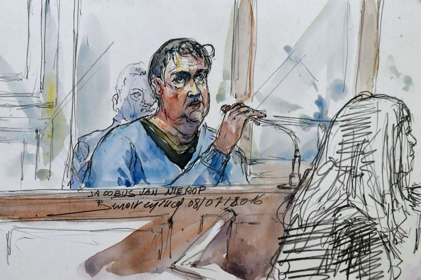 """A courtroom sketch showing Dutchman Jacobus Marinus van Nierop, dubbed """"The dentist of the horror"""", attending his trial at the Nevers courthouse, in central France, on March 8, 2016."""