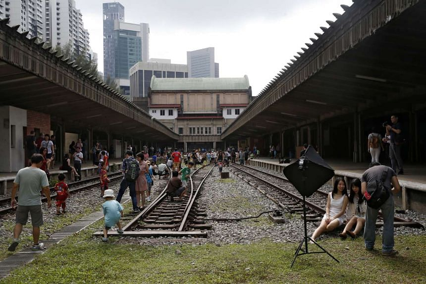 Visitors enjoying themselves at the historic former Tanjong Pagar Railway Station when it opened its doors to the public on April 3, 2015.