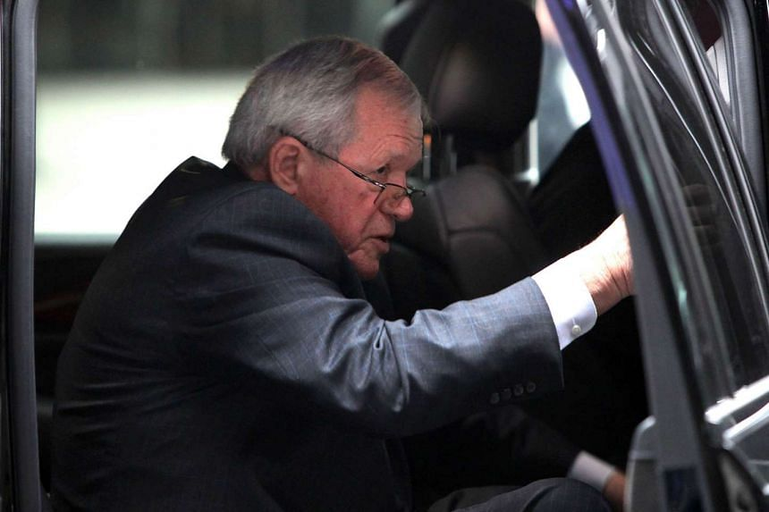 Former House Speaker Dennis Hastert arriving at the Dirksen Federal Court House in Chicago for his hush-money case sentencing on April 27, 2016.