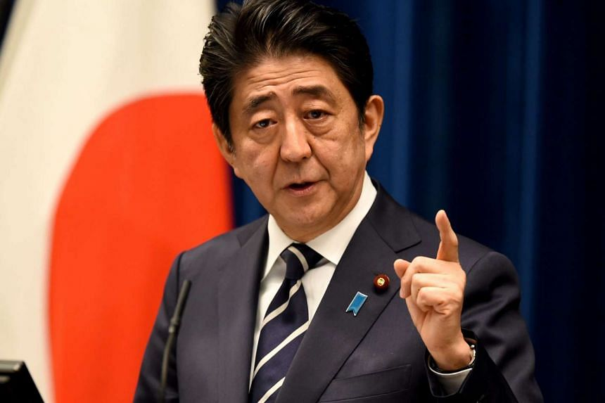 Japanese Prime Minister Shinzo Abe speaking at a press conference in Tokyo on March 29.