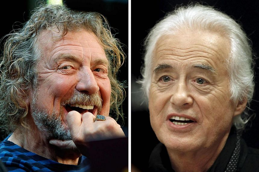 Lead singer Robert Plant (left) and guitarist Jimmy Page of the British rock band Led Zeppelin.