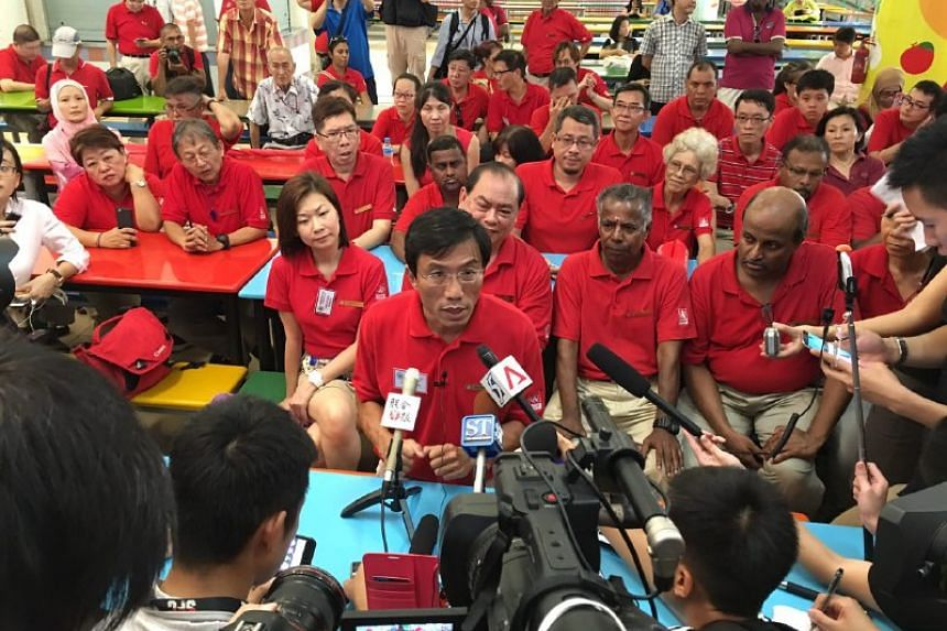 SDP's Chee Soon Juan addressing the media during a press conference after he was announced as one of the candidates for the Bukit Batok by-election.