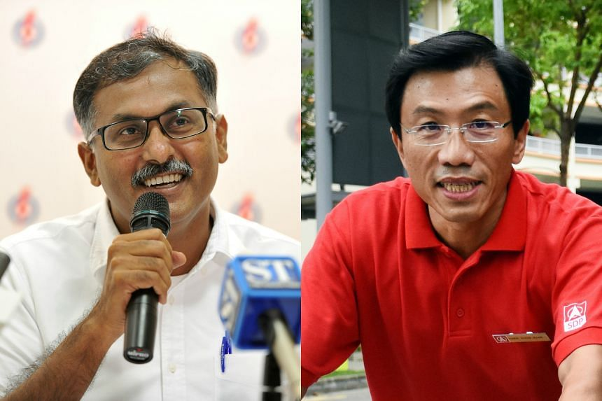 PAP's candidate for the Bukit Batok by-election Mr Murali Pillai (left), and SDP's candidate Dr Chee Soon Juan.
