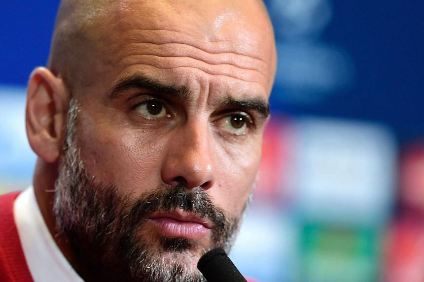 Bayern Munich coach Pep Guardiola giving a press conference on April 26, the eve of the UEFA Champions League semi-final clash against Atletico Madrid.