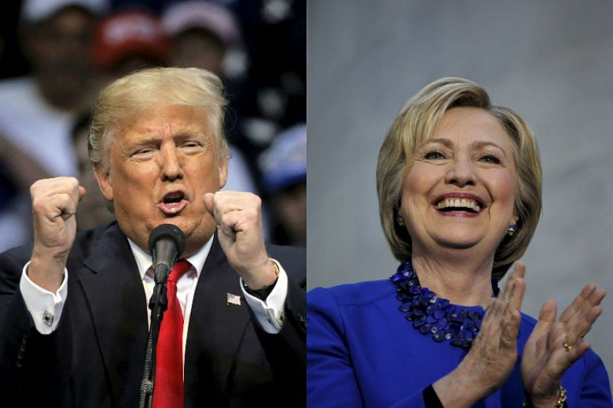 Donald Trump (left) and Hillary Clinton speaking during their campaign rallies in Philadelphia.