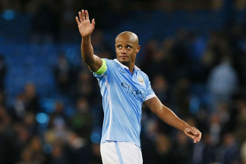 Manchester City captain Vincent Kompany waving at the end of the Uefa Champions League semi-final first leg match against Real Madrid on April 26, 2016.