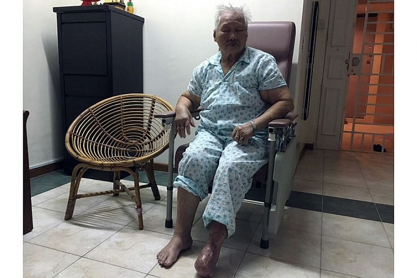 Madam Ting says she is trying to move on after the incident. She still feels the occasional pain from dry skin cracking at the bottom of her stump. The front of her left foot was amputated and she was hospitalised for a total of seven weeks.