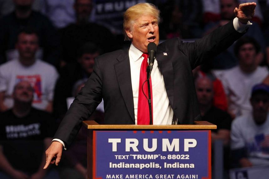 Republican presidential candidate Donald Trump addresses the crowd at a campaign rally on April 27, 2016 in Indianapolis.