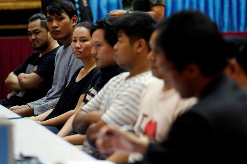 Eight people charged with sedition and computer crimes at the Thai Police Crime Suppression Division headquarter, in Bangkok, Thailand on April 28, 2016.