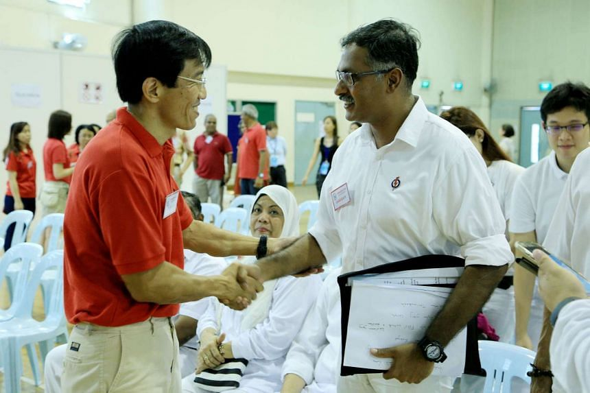 Singapore Democratic Party's Chee Soon Juan (left) and the People's Action Party's Murali Pillai met briefly on Nomination Day (April 27) as they filed their papers.
