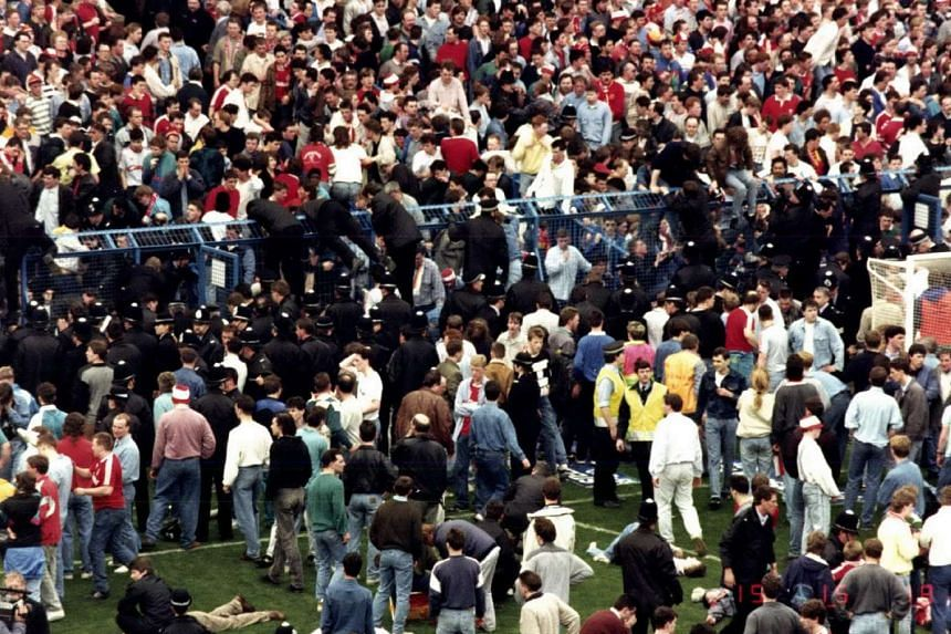 A human crush caused the deaths of 96 people and injured 766 others, at an FA Cup semi final soccer match between Liverpool and Nottingham Forest at Hillsborough Stadium, Sheffield, England, on April 15, 1989.