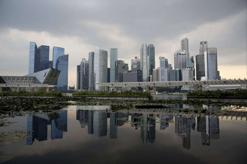 View of the skyline of the central business district in Singapore, on April 21, 2016.