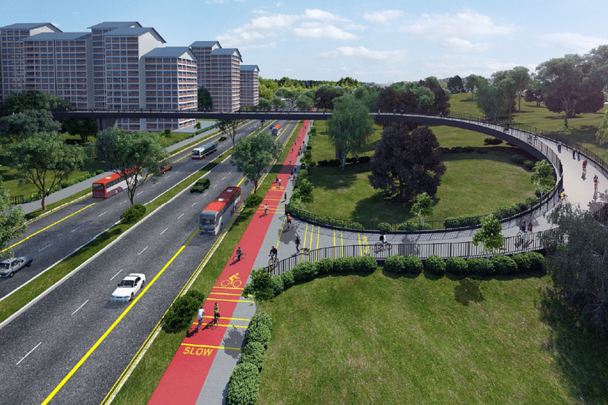 An artist's impression of the trunk route to link cycling network along North-South Corridor.