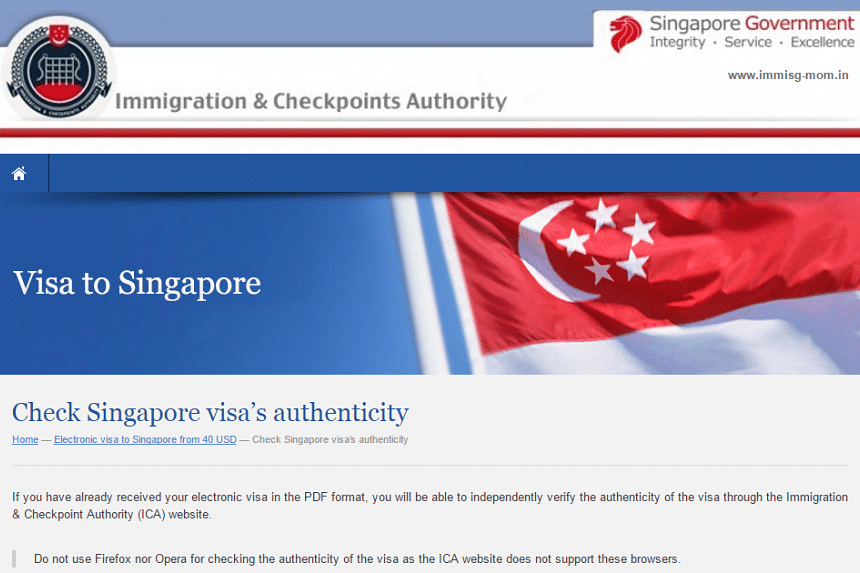 Authorities warned the public about a fake Immigration & Checkpoints Authority website on April 28, 2016.