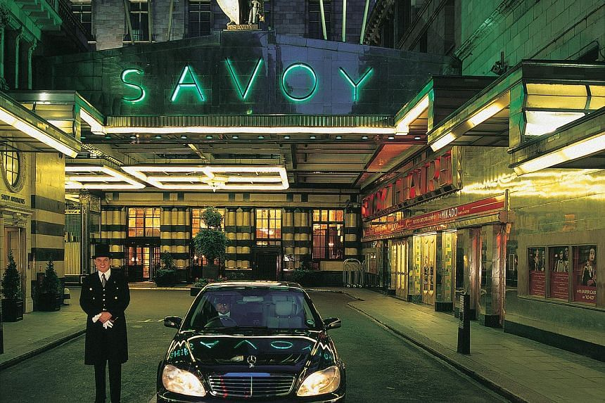 Exterior of The Savoy hotel in Strand, London.