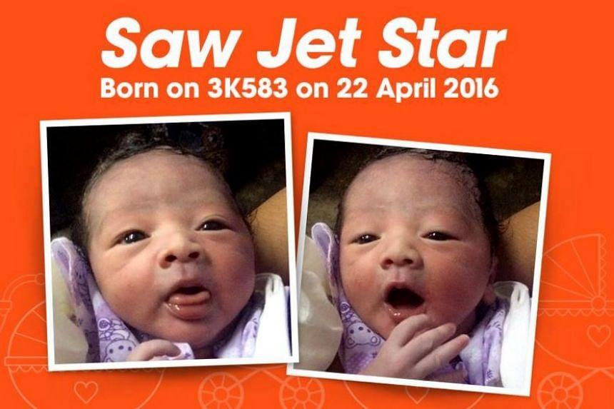 Baby boy Saw Jet Star was born on board Jetstar Asia flight 3K583 on April 22, 2016.