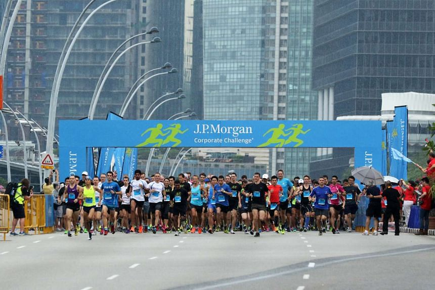 More than 14,000 employees from 337 companies took part in the 13th edition of the J.P. Morgan Corporate Challenge Singapore on April 28, 2016,