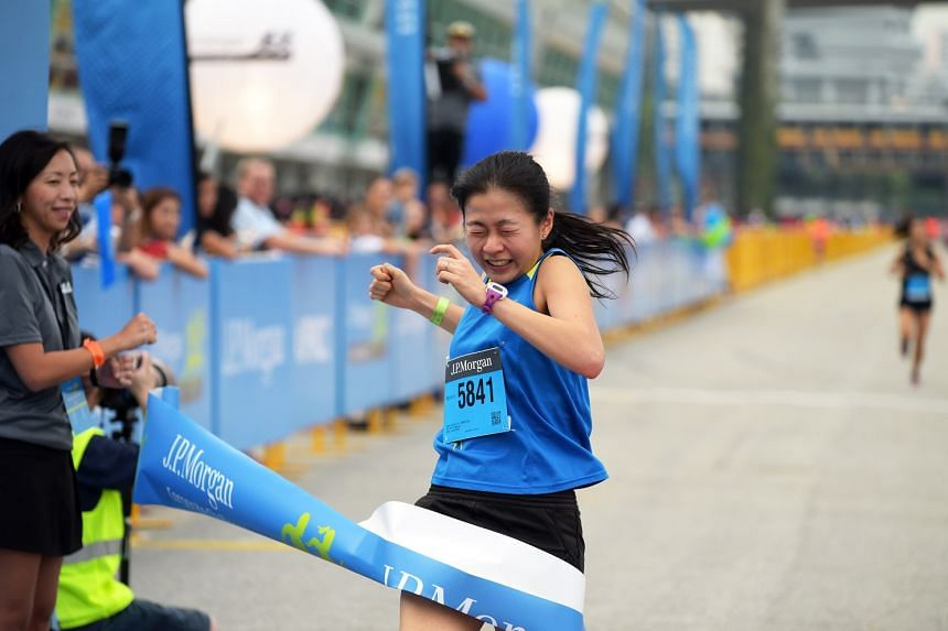 Ms Aileen Tan from the Ministry of Health Holdings won the women's event at the J.P. Morgan Corporate Challenge Singapore on April 28, 2016.