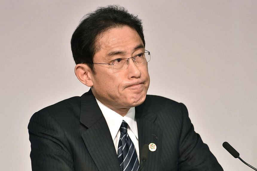 Japan's Foreign Minister Fumio Kishida at the presidency press conference following the G-7 Foreign Ministers' Meeting in Hiroshima, on April 11, 2016.