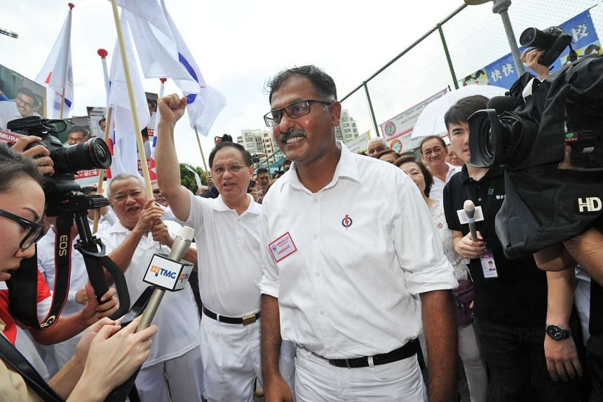PAP's Murali Pillai at Keming Primary School on Nomination Day.