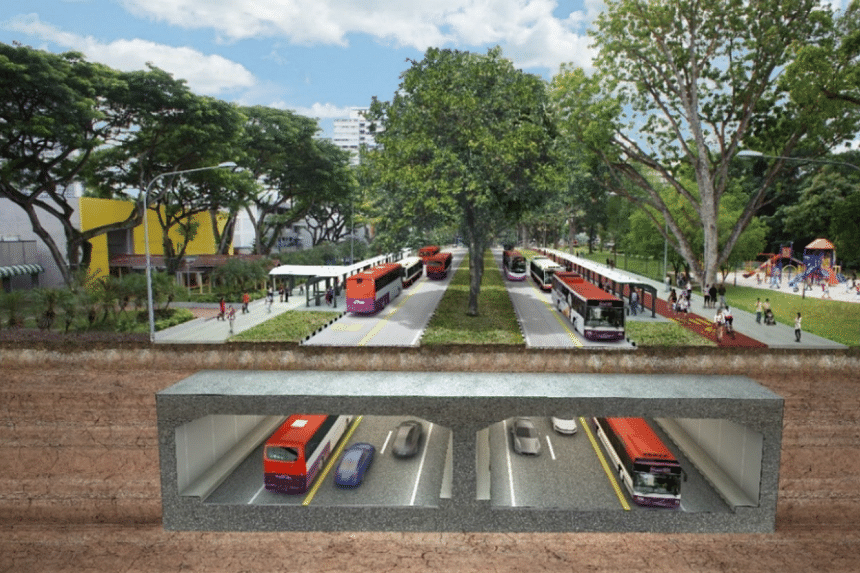 An artist's impression of the dedicated bus lanes in tunnels and on surface roads.