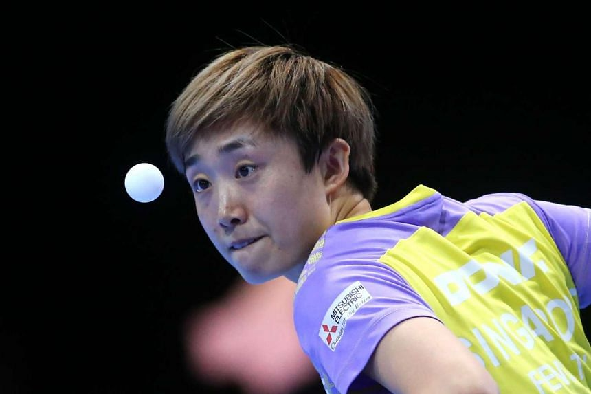 Feng Tianwei of Singapore during her women's singles quarter final table tennis match against Hirano Miu of Japan in the ITTF Nakheel Table Tennis Asian Cup on April 29, 2016.