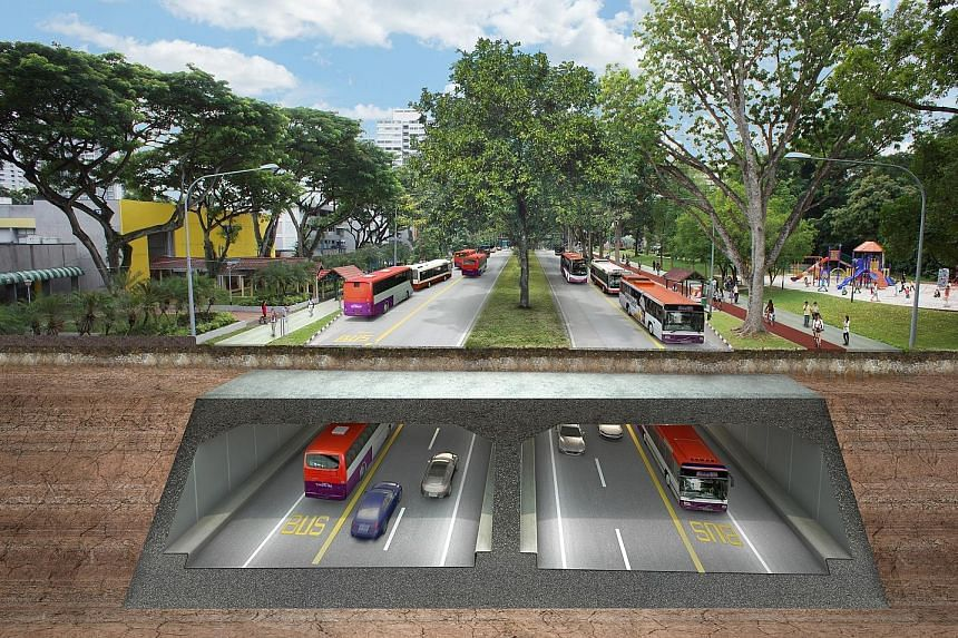 An artist's impression of the North-South Corridor along Ang Mo Kio Avenue 6. The project is set to be completed in 2026.