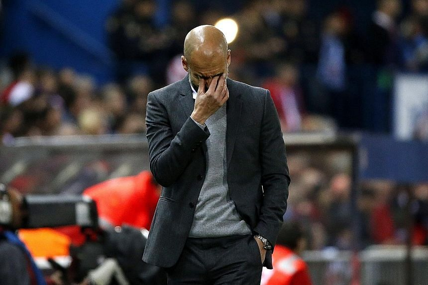 Bayern Munich's head coach Pep Guardiola (above) shows the anguish of the 1-0 defeat in the first leg of the Champions League semi- final against Atletico Madrid on Wednesday. The game's only goal was a sublime solo effort by Saul Niguez (second from