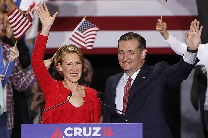 Republican presidential candidate Ted Cruz with Ms Carly Fiorina at a rally in Indianapolis where he named the former Hewlett-Packard chief executive as his running mate.