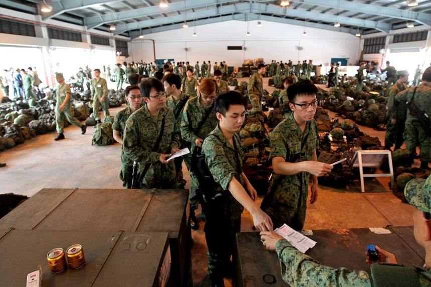 National Servicemen from the Singapore Armed Forces (SAF) at a mobilisation exercise on Sept 14, 2013.