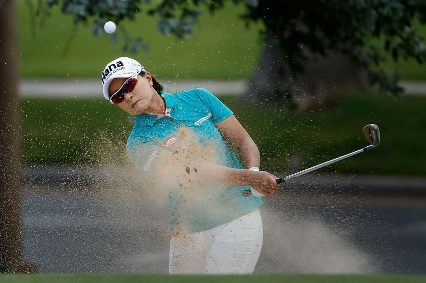 Pak Se-Ri  of South Korea chips from the bunker onto the ninth green during the second round of the LPGA Lotte Championship at Ko Olina Golf Club on April 14, 2016 in Kapolei, Hawaii.