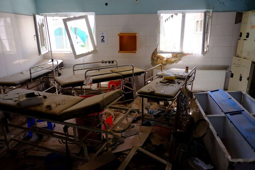 Hospital beds lay in the Medecins Sans Frontieres hospital in Kunduz, Afghanistan, on April 26, 2016.