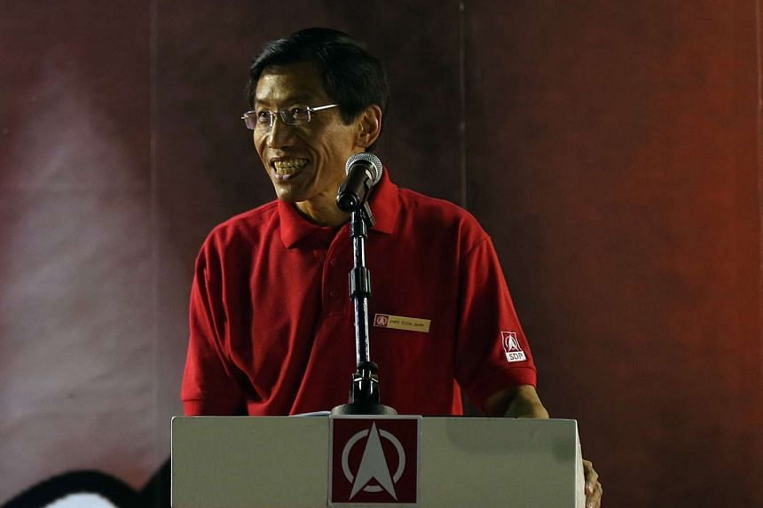 SDP secretary-general Chee Soon Juan speaking at a rally on Friday, April 29, 2016.