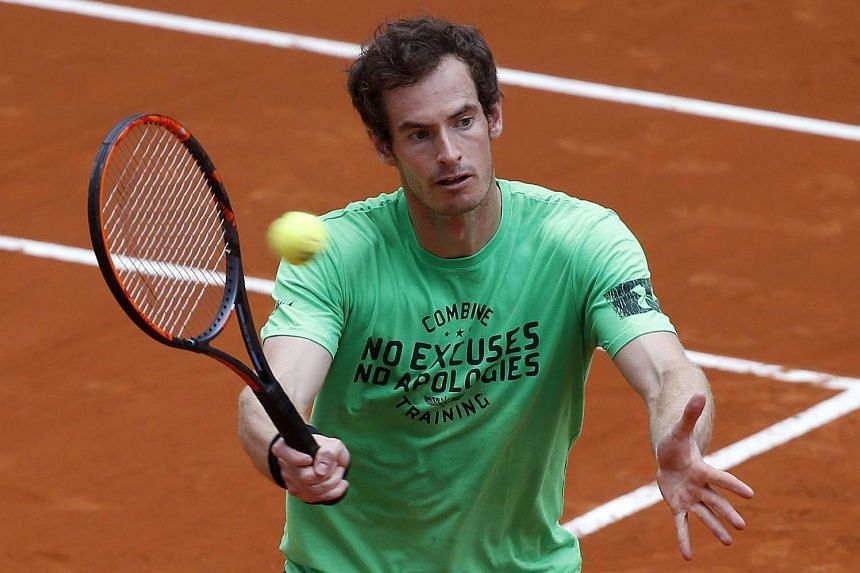 Andy Murray at a training session for the Madrid Open tennis tournament, on April 29, 2016.