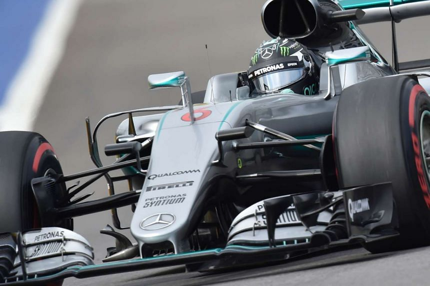 Mercedes driver Nico Rosberg steers his car during the qualifying session of the Russian Grand Prix, on April 30, 2016.