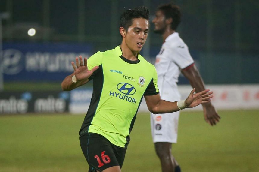 Hafiz Abu Sujad celebrating after scoring Tampines Rovers' third goal against Warriors FC on Saturday, April 30, 2016.