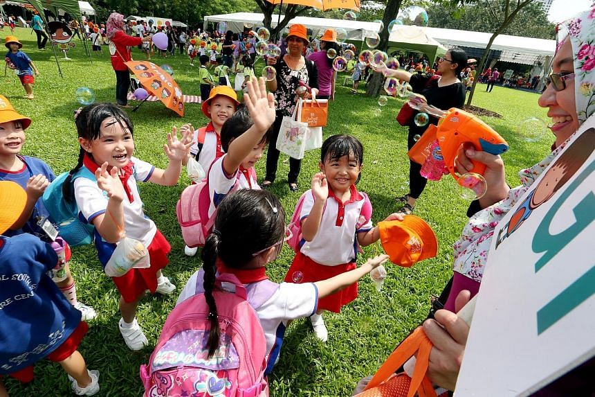 This year's Start Small Dream Big initiative, where pre-schoolers will work with their centres and parents on community projects, was launched at Bishan-Ang Mo Kio Park yesterday.