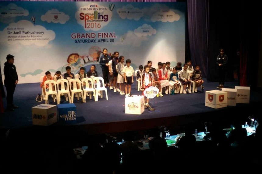 The first speller at the microphone, Owen Chau, 11, a Primary 6 pupil of Rulang Primary School, at the final round of The Big Spell, as other spellers await their turn. The round kicked off around 9.30am.