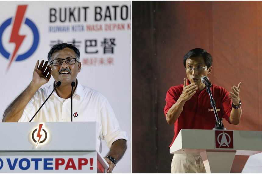 PAP's Mr Murali Pillai (left) and SDP's Dr Chee Soon Juan at their first Bukit Batok by-election rallies on April 29, 2016.
