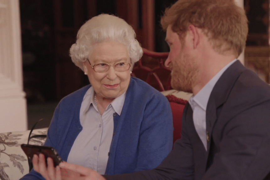 """""""Boom?"""" Queen Elizabeth II says to Prince Harry after watching the Obama's video."""