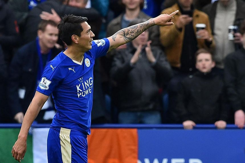 Leicester City's Leonardo Ulloa celebrating after scoring his second and Leicester's third goal during the match between Leicester City and Swansea on April 24, 2016.