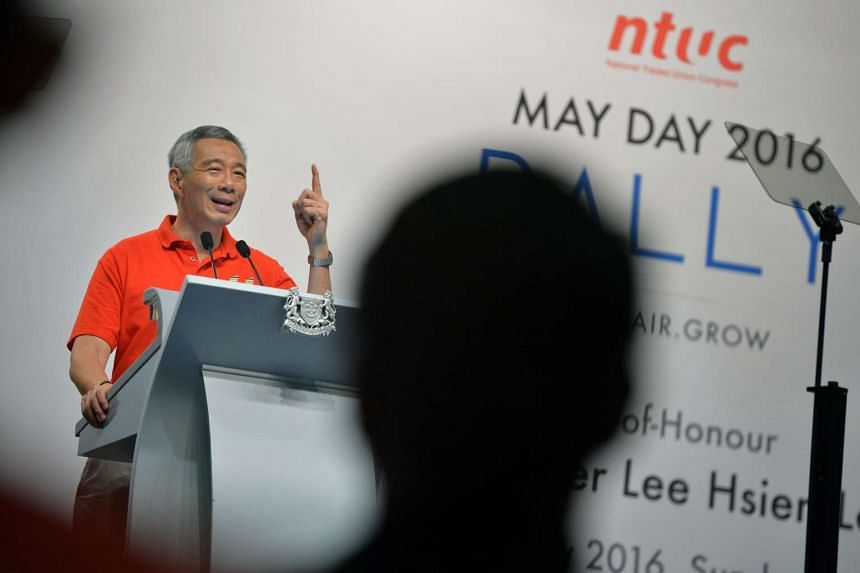 Prime Minister Lee Hsien Loong delivering his speech at the May Day rally.