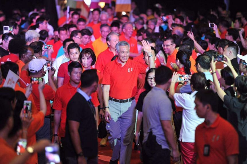 PM Lee Hsien Loong arrives at D'Marquee, Downtown East  to give his May Day Rally speech.
