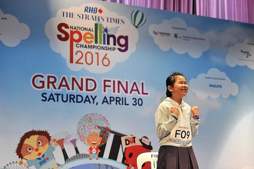 Sophi was unplaced in the South Zone round two weeks ago, but made it to the finals. Ho Wing Yip, 11, from Catholic High School (Primary), was second and Aloysius Khoo, 12, from St Joseph's Institution Junior, was third.