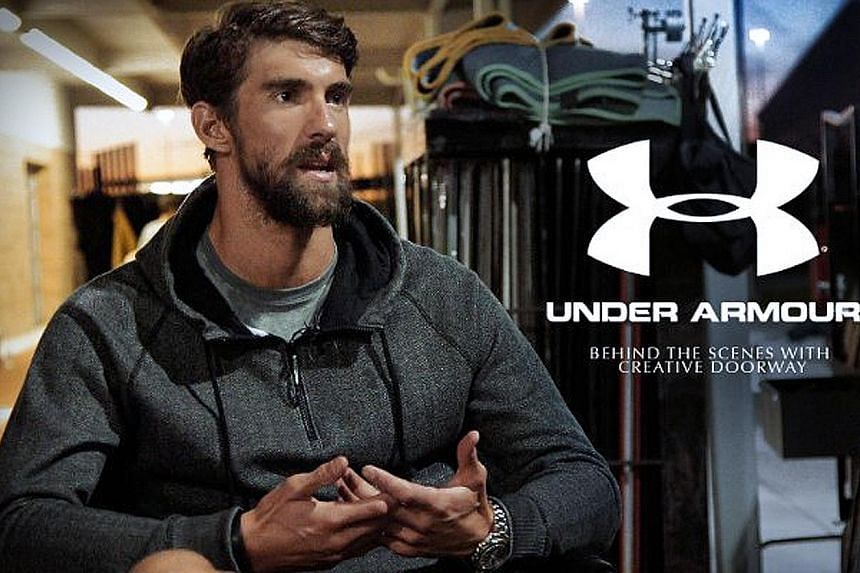 (Left) Swimmer Michael Phelps in an Under Armour advertisement. (Above) The launch ceremony of the Uncle Martian brand last week. Under Armour has said that it will take action against Uncle Martian's use of its logo and intellectual property.