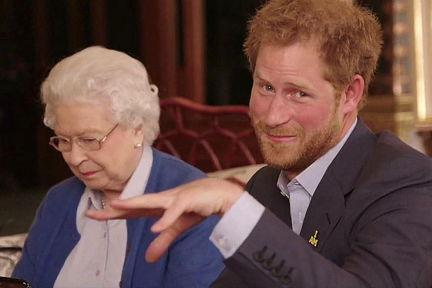 """US President Barack Obama and First Lady Michelle Obama (top) and Queen Elizabeth II and Prince Harry (above) """"talking trash"""" on Twitter to promote the Invictus Games."""