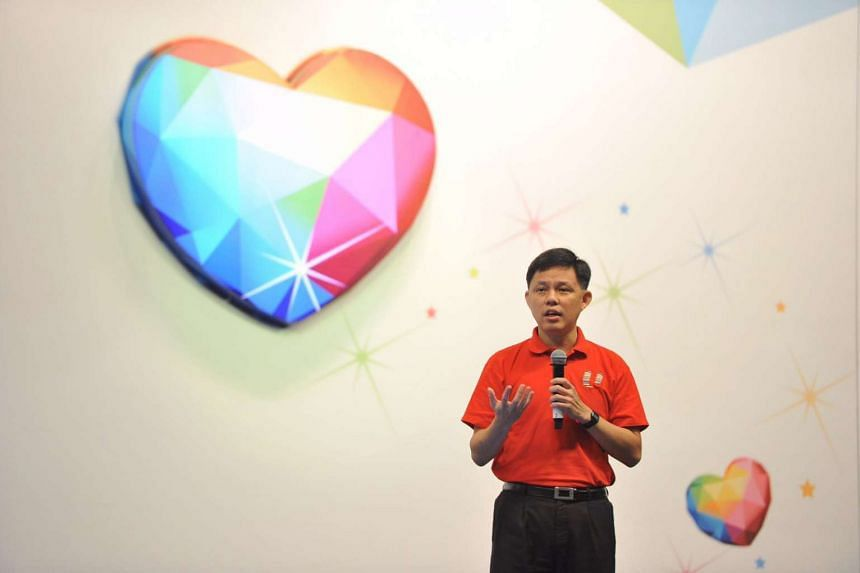 Labour chief Chan Chun Sing delivering his opening address at the May Day Rally.