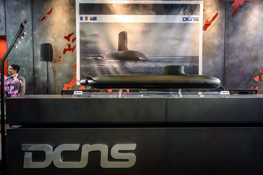A Shortfin Barracuda submarine mock-up during the French President Francois Hollande (not pictured) visit at the DCNS headquarters in Paris, France, on April 26, 2016.