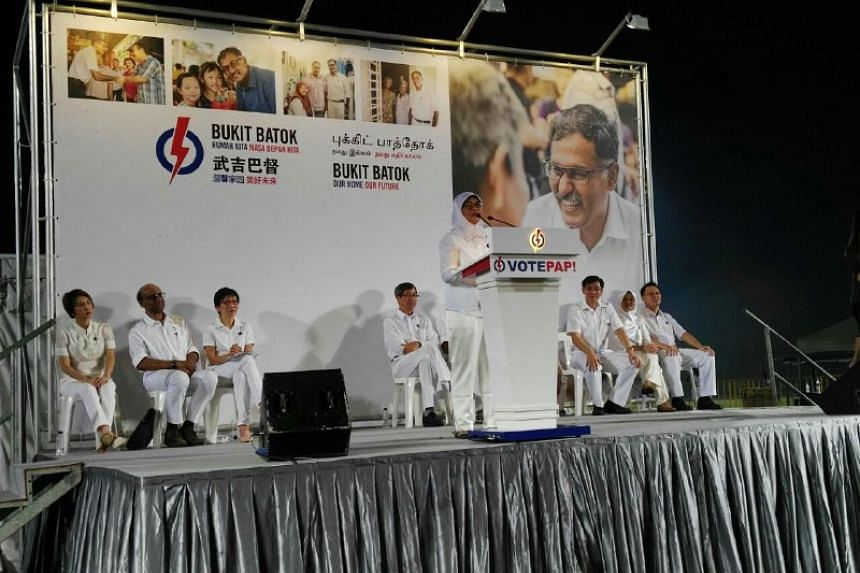 Mdm Halimah Yaacob speaking at the PAP rally on April 29, 2016.
