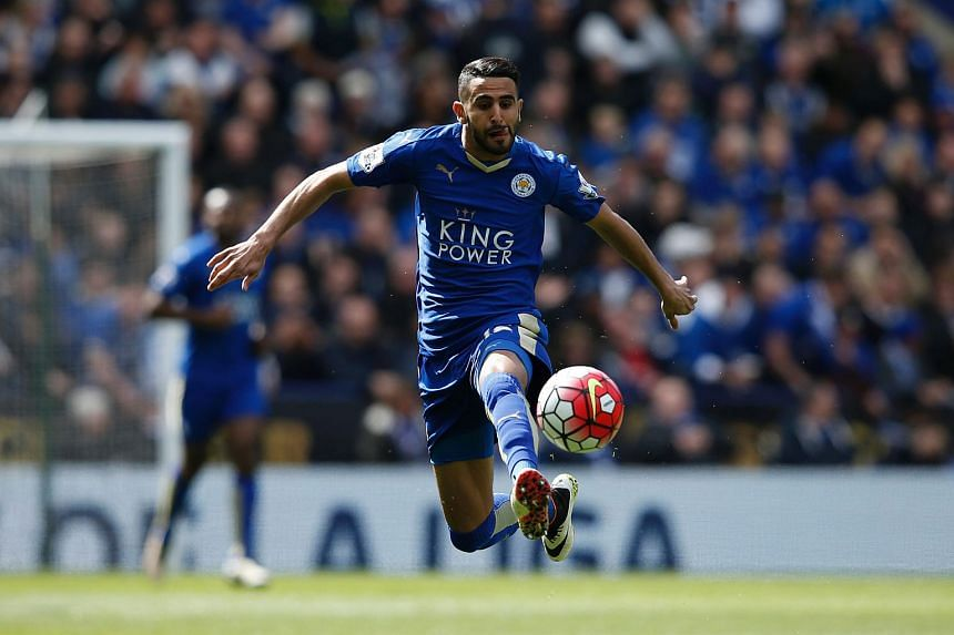 Leicester City's midfielder Riyad Mahrez during the English Premier League football match between Leicester City and West Ham United at King Power Stadium in Leicester, central England on April 17, 2016.